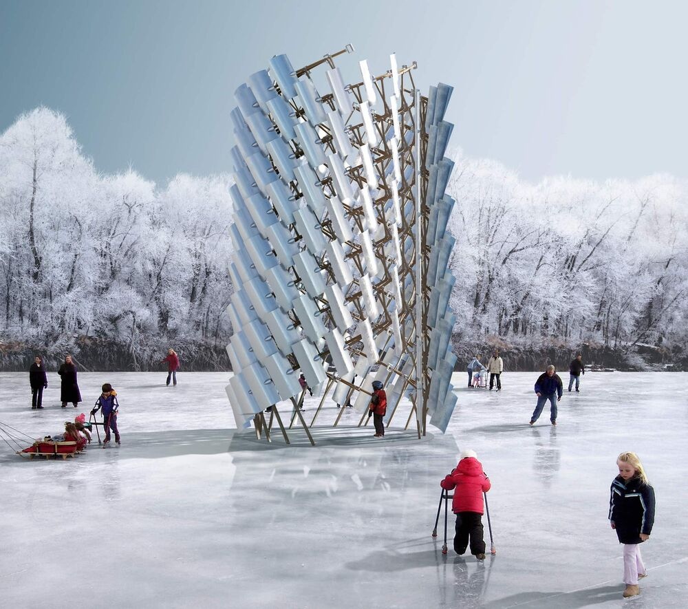 S[Hovel], designed by a Calgary collective, is one of the 2020 winners of the 10th Warming Huts art + architectural competition at the Forks. This structure is composed entirely of shovels. (Supplied)